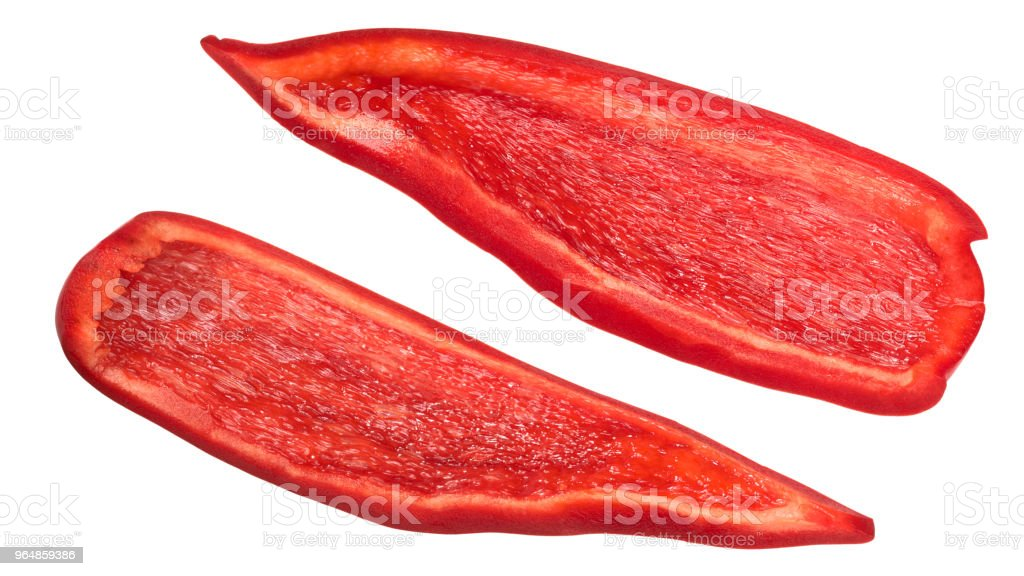 Red bell pepper pieces slices royalty-free stock photo