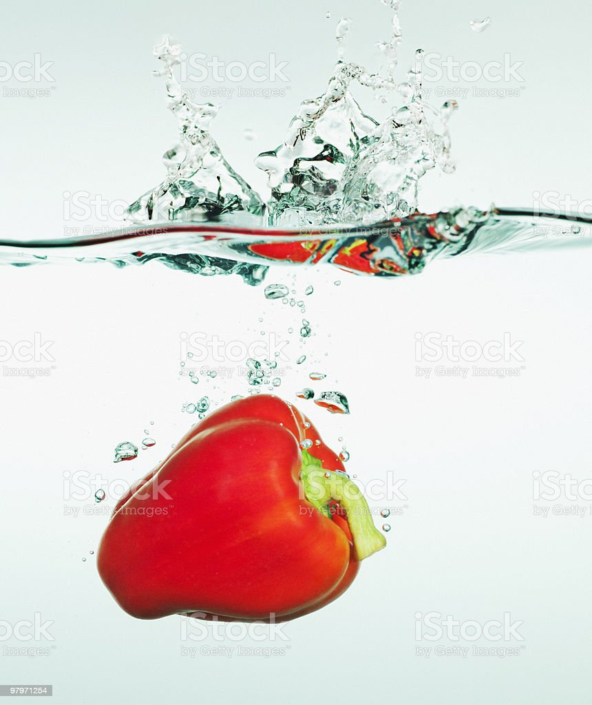 Red bell pepper splashing in water royalty-free stock photo