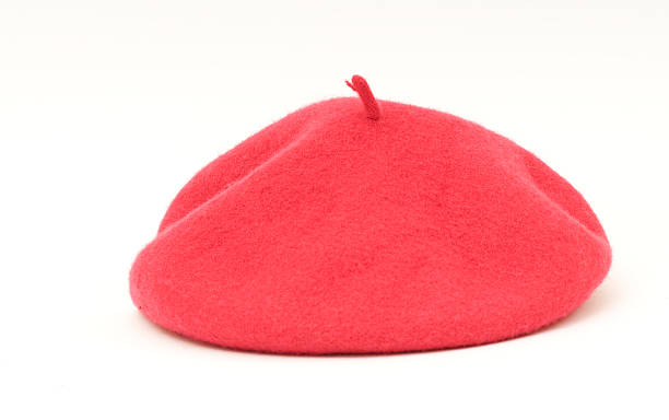 red beret on white background stock photo