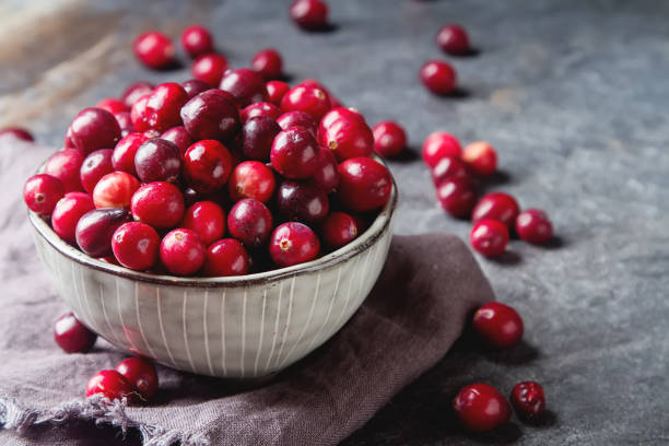 red berries on a dark background. cranberries in a bowl. - cranberry stock photos and pictures