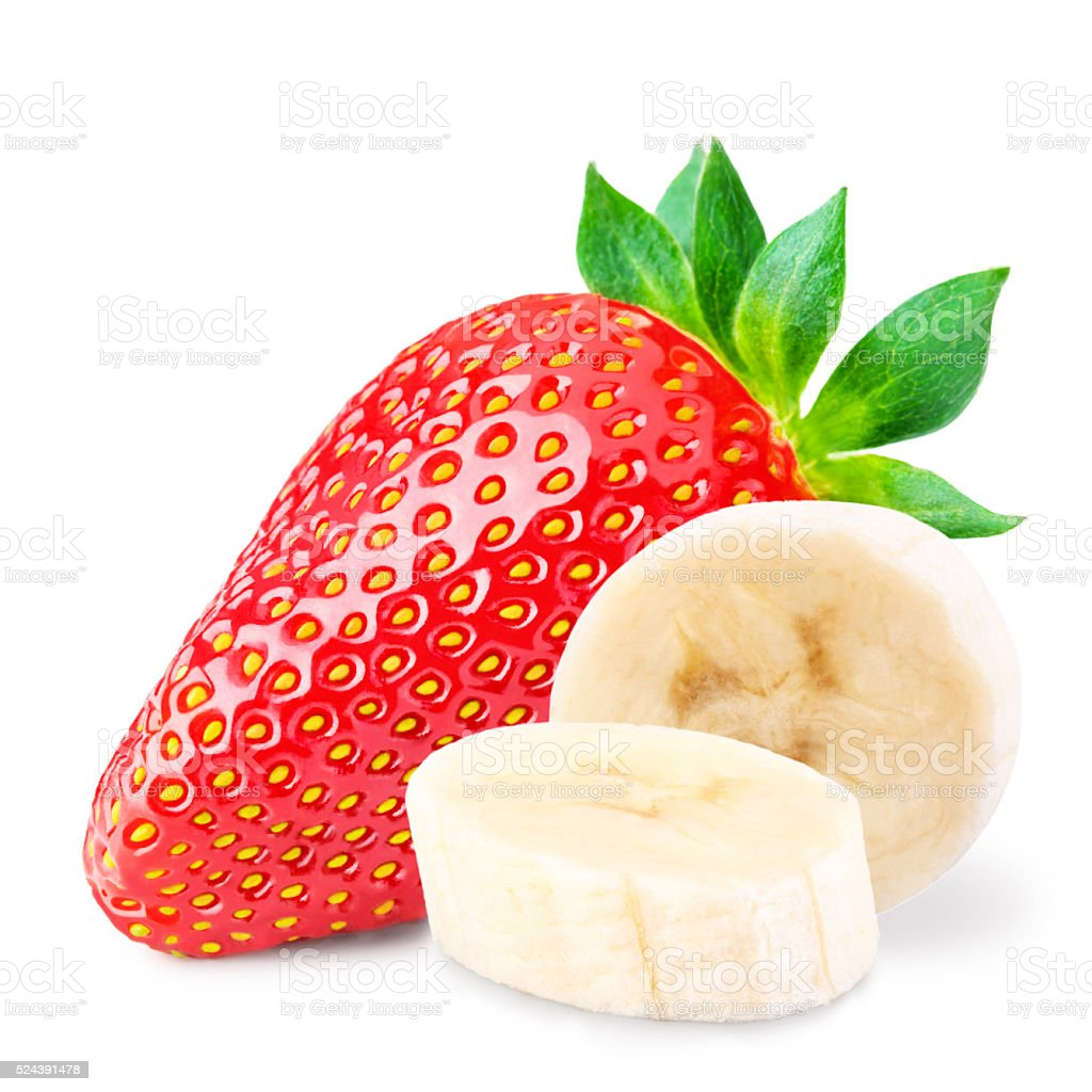 Red berry strawberry banana  isolated on white background stock photo