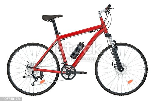 Red Bicycle side view, 3D rendering isolated on white background