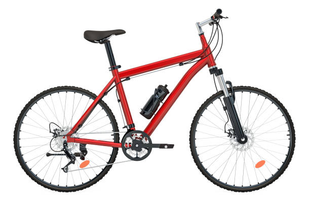 red bicycle side view, 3d rendering isolated on white background - clip art stock photos and pictures