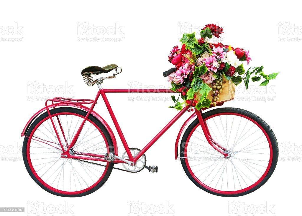 Red bicycle with floral basket isolated on white background stock photo