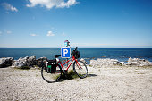 Red bike parked at Fårö Gotland