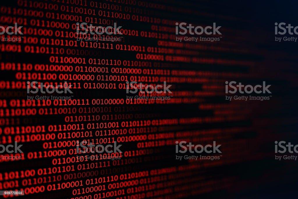 fondo rojo código binario. concepto de problemas de computadora. fondo negro. transferencia de datos de virus de malware. - Foto de stock de Acontecimiento libre de derechos
