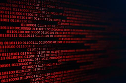 Fondo Rojo Código Binario Concepto De Problemas De Computadora Fondo Negro Transferencia De Datos De Virus De Malware Foto de stock y más banco de imágenes de Acontecimiento