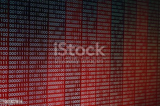 1001827816 istock photo Red Binary Code. line of computer languages. 1001827814