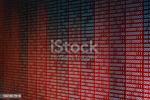 1001827816 istock photo Red Binary Code. line of computer languages. 1001827816