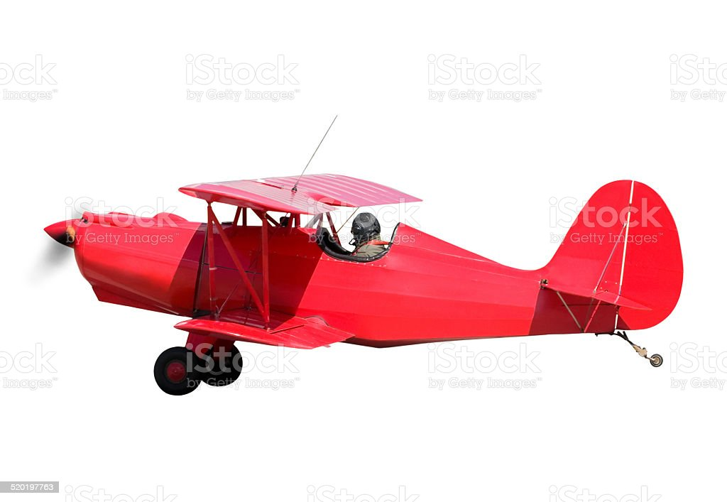 Red biplane isolated on white background stock photo