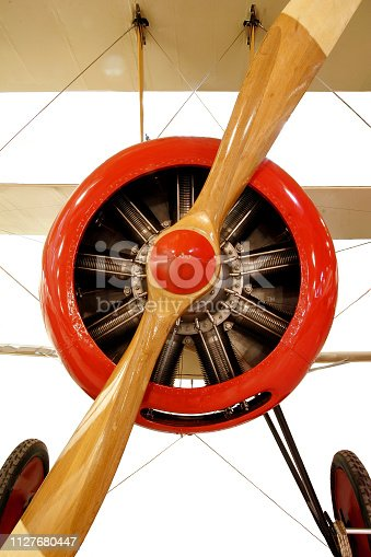 Red Biplane - Engine with Propeller