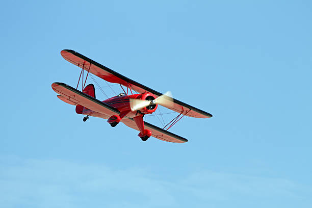 Red Bi-Plane stock photo