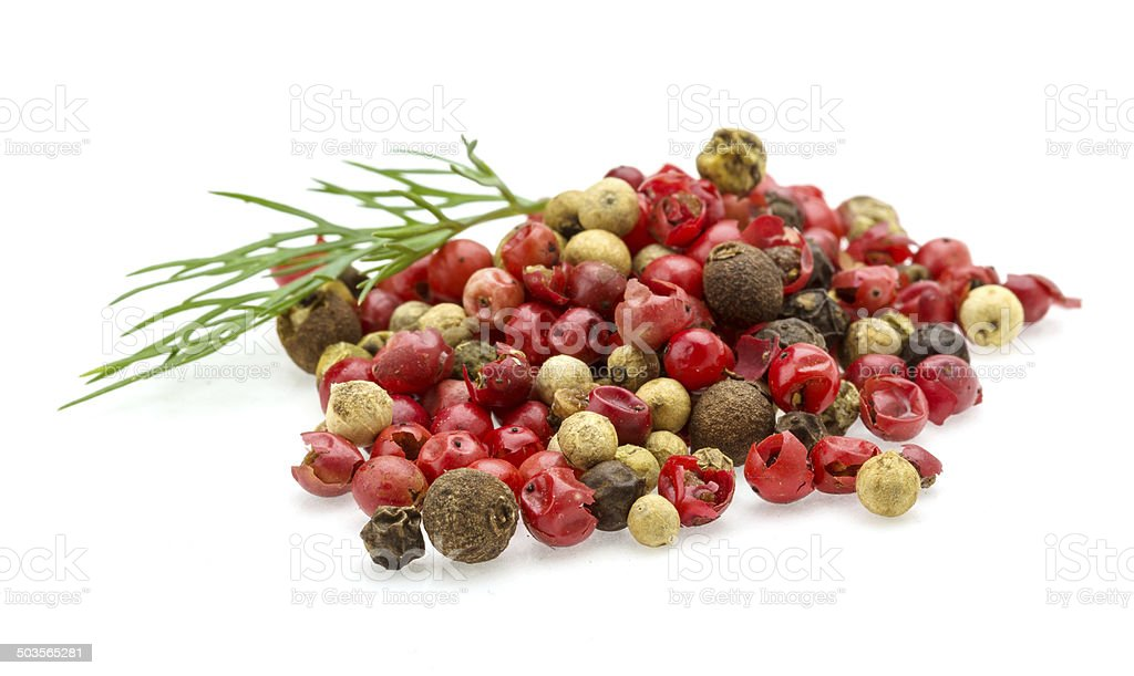 Red, black and white pepper heap stock photo