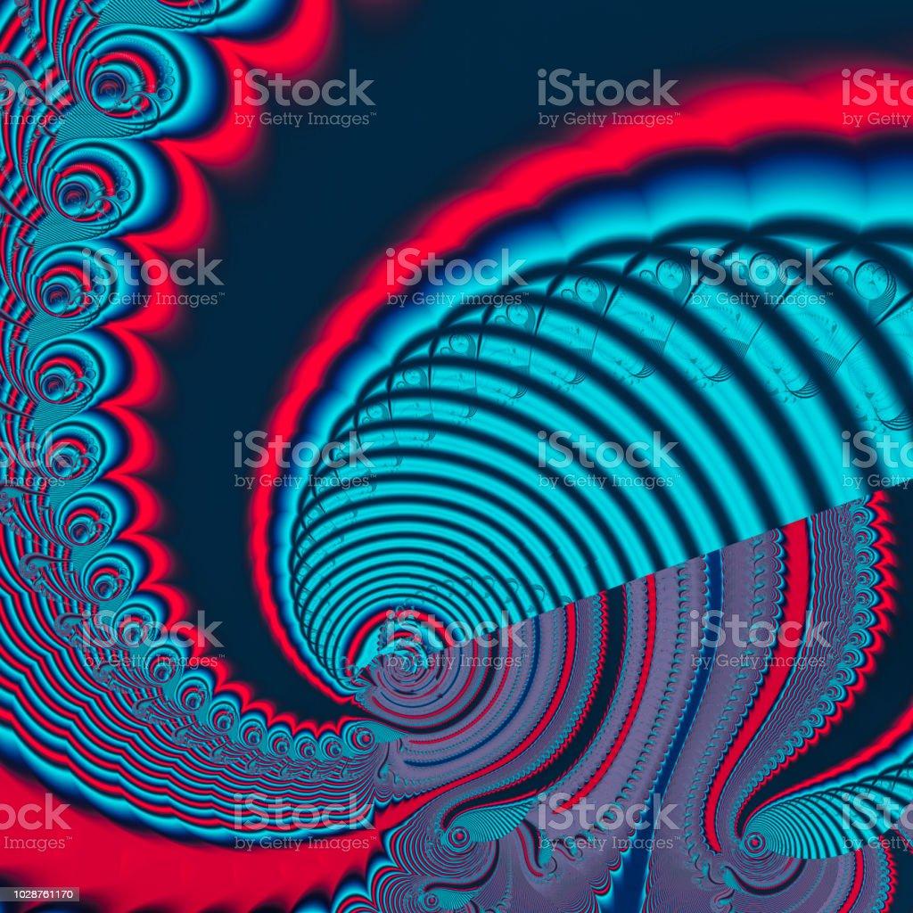 Red black blue spiral tunnel vortex by fractal transformation stock photo