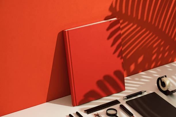 Red blank book mockup, template stock photo