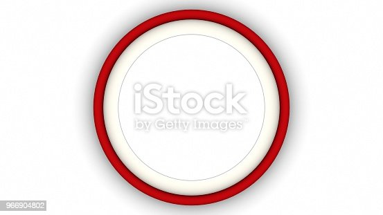 1144461291 istock photo Red blank circle frame on white background. 3d rendering 966904802