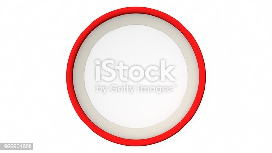1144461291 istock photo Red blank circle frame on white background. 3d rendering 966904888