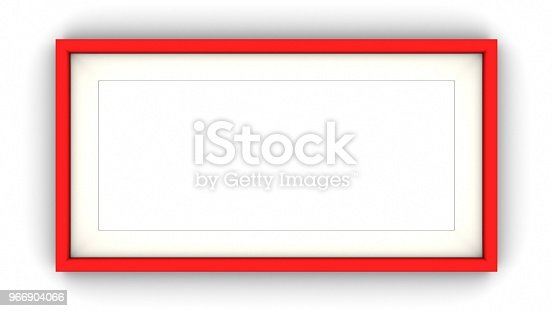 1144461291 istock photo Red blank frame and shadow on white background. 3d rendering 966904066