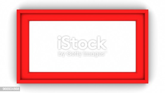 1144461291 istock photo Red blank frame on white background. 3d rendering 966904868