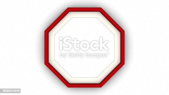 1144461291 istock photo Red blank octagon frame and shadow on white background. 3d rendering 966904848