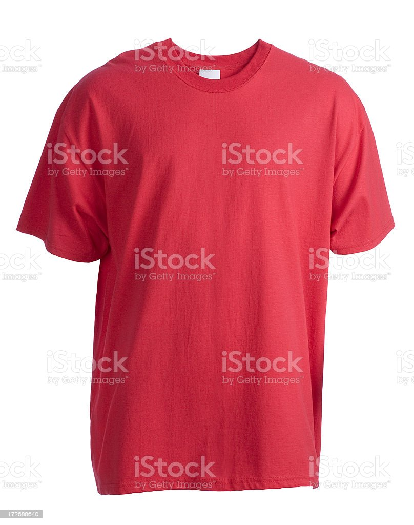 Red, blank, short sleeved t-shirt front-isolated on white stock photo