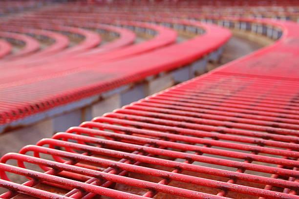 Red Bleachers in Coliseum stock photo