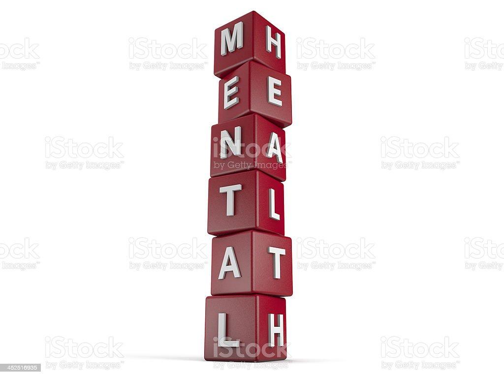 Red blocks reading MENTAL HEALTH stock photo