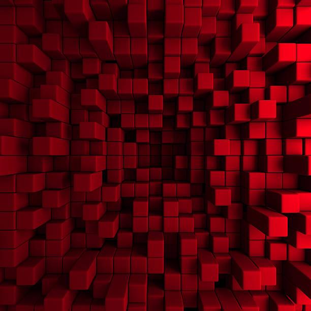 Red Blöcke Wand chaotischen Hintergrund – Foto