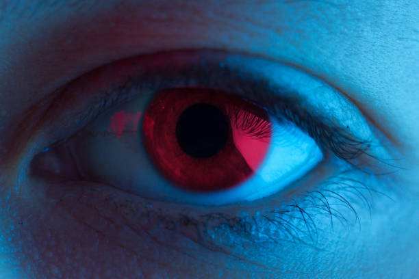 red blood eye - demoniac stock pictures, royalty-free photos & images