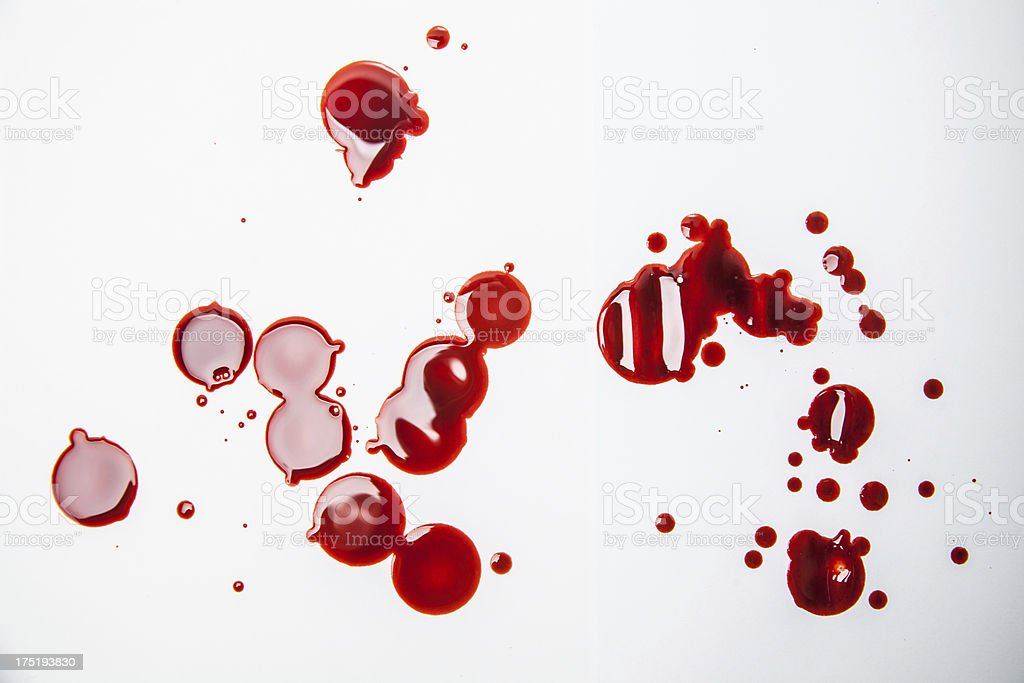 Red blood plasma drops and splatters on white royalty-free stock photo