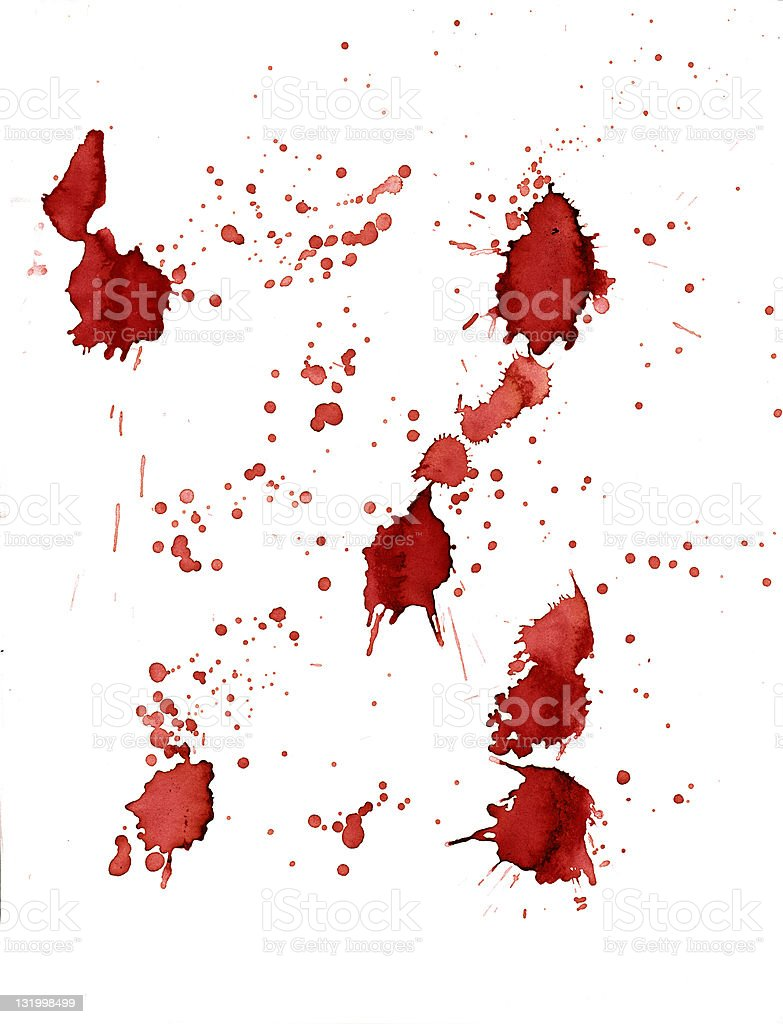 Red blood spatters on white background royalty-free stock photo