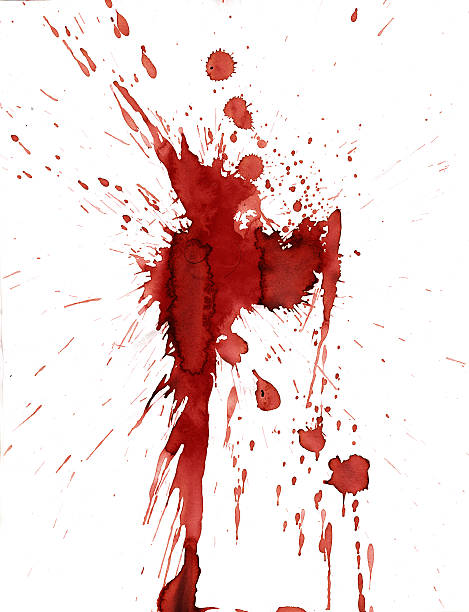 red blood splatter stain on white background - vlek stockfoto's en -beelden