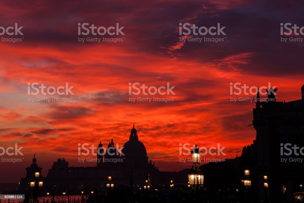 Red blood sunset in Venice stock photo