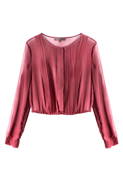 Red blouse isolated Red chiffon long sleeves blouse on white background blouse stock pictures, royalty-free photos & images