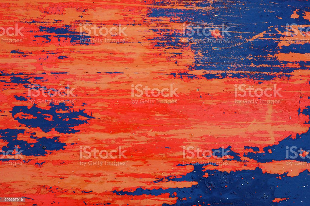 Red, Blue and Orange Distressed Metal Background Texture stock photo