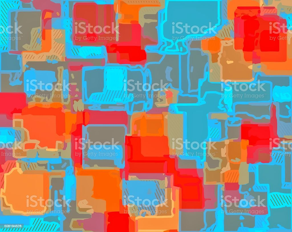 red blue and orange drawing and painting stock photo