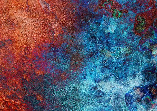 rosso sfondo blu di mattoni - ice on fire foto e immagini stock
