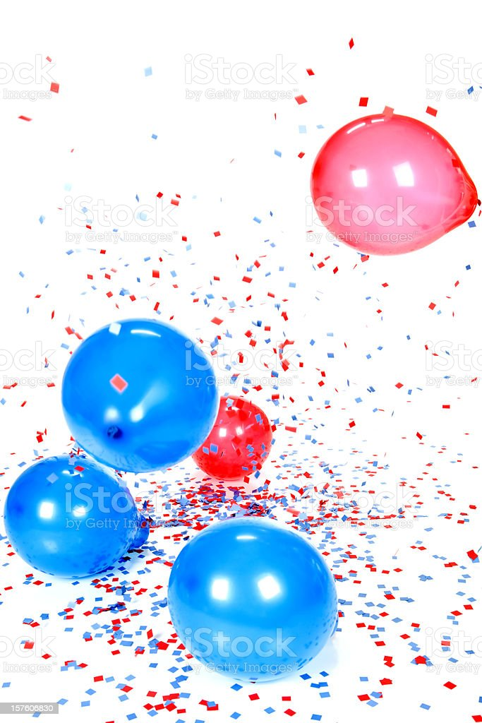 Red Blue Balloons and Confetti Falling Against White stock photo