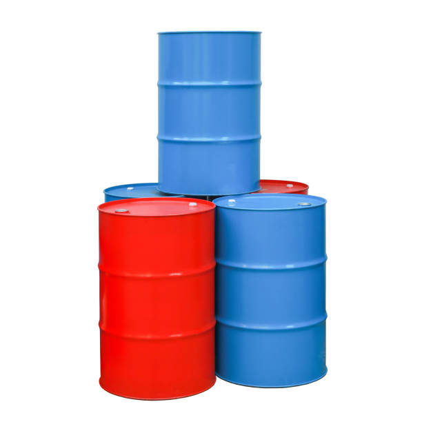 Red, blue barrel oil. Steel drum stock photo