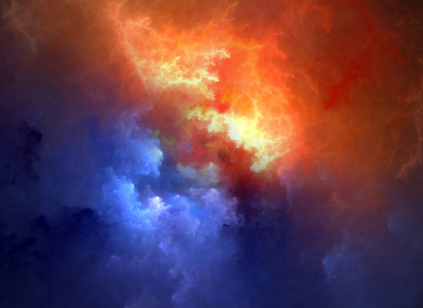 red blue cloudy background - storm stock photos and pictures