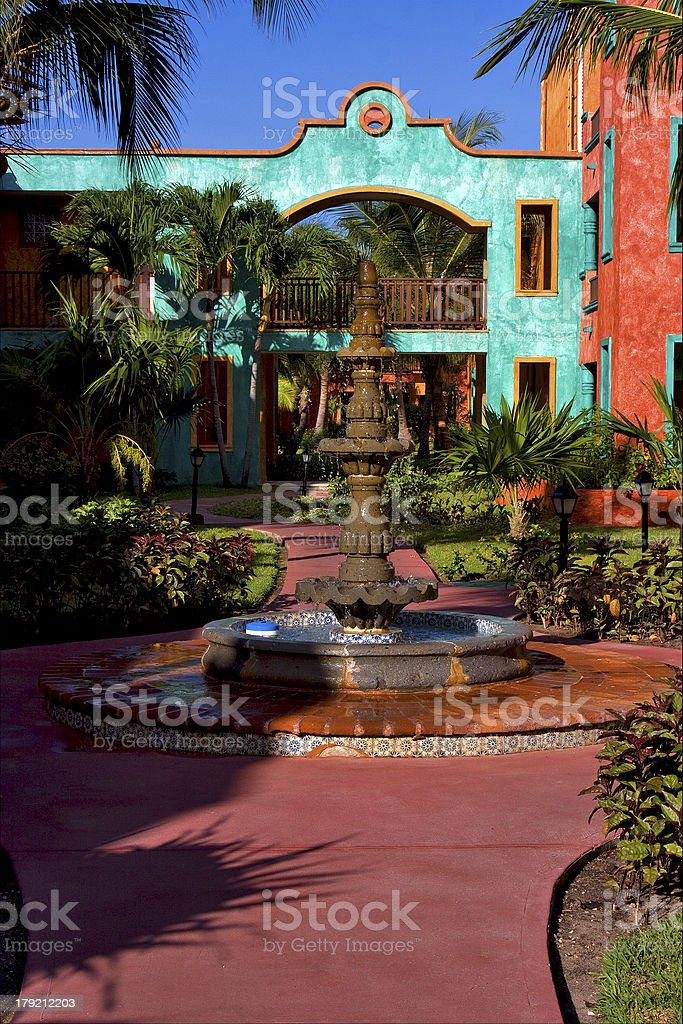 red blue  house  in playa del carmen stock photo