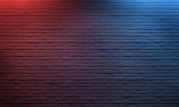 빨간 파란 점화 된 벽돌 벽 반점 빛 벽돌 벽 짜임새 배경 패턴 벽돌은 백색을 그렸다 - 벽돌 담 뉴스 사진 이미지
