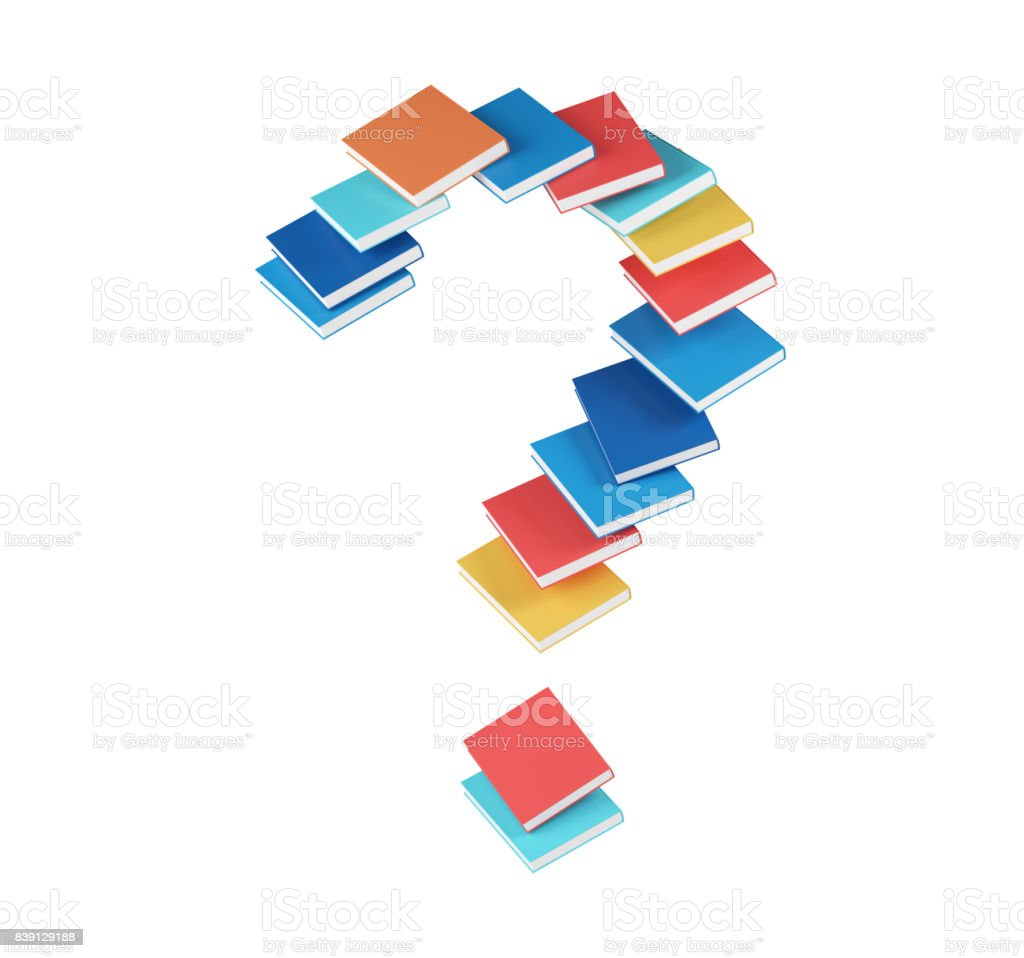 Red, blue, orange, cyan books, question mark stock photo