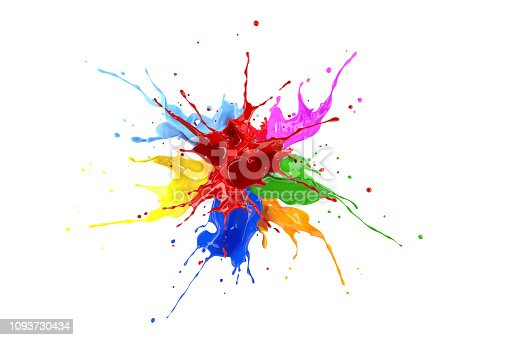 istock Red, blue, pink, yellow, light blue, orange and green paint splash explosion. 1093730434
