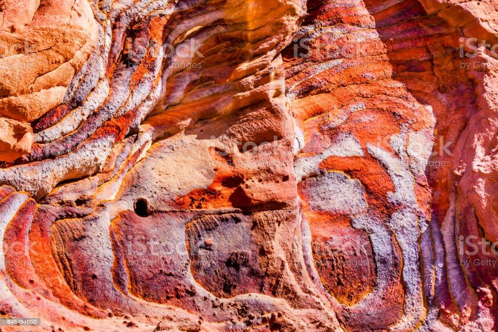 Red Blue Rock Abstract Near Royal Tombs Petra Jordan stock photo