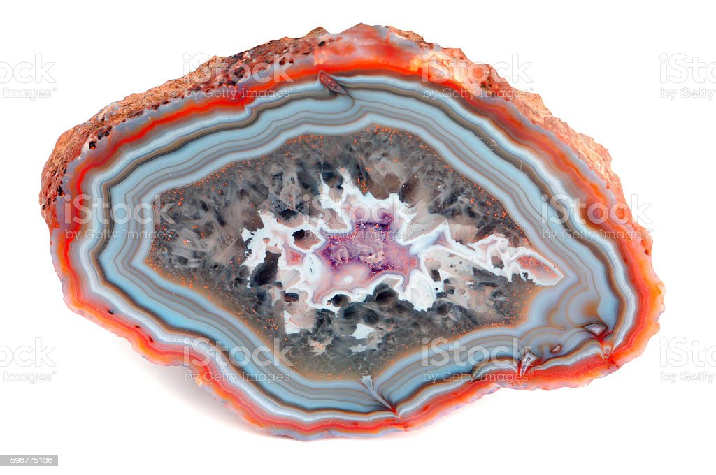 red blue sliced agate on isolated white background stock photo
