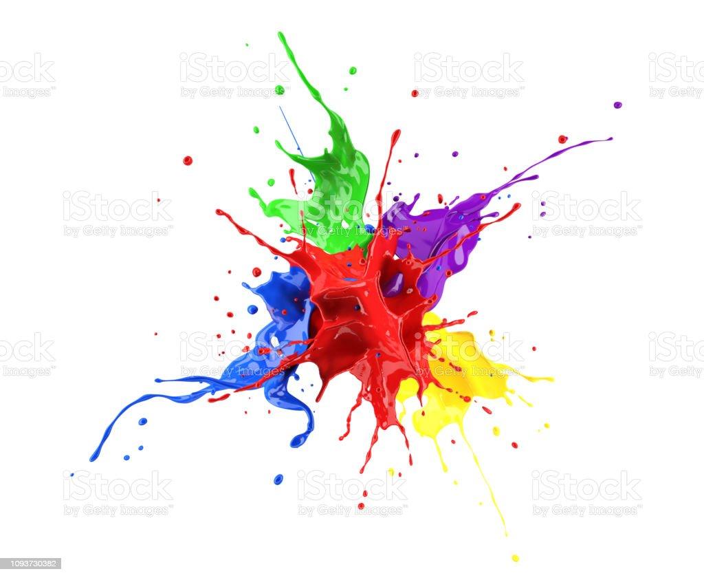 Rouge, bleu, violet, jaune et vert peignent splash explosion, éclaboussant les uns contre les autres. - Photo de Abstrait libre de droits
