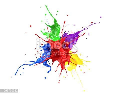 istock Red, blue, violet, yellow and green paint splash explosion, splashing against one another. 1093730382