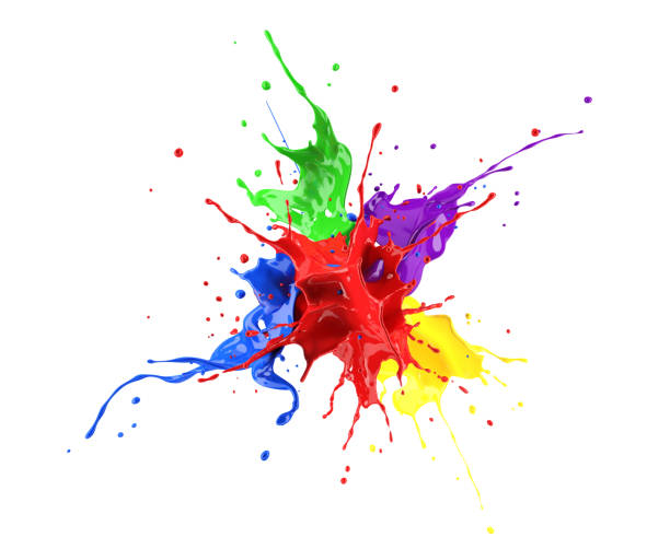 빨강, 파랑, 보라색, 노란색 및 녹색 페인트 스플래시 폭발, 서로 대 한 splashing. - 색상 이미지 뉴스 사진 이미지