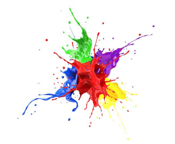 rouge, bleu, violet, jaune et vert peignent splash explosion, éclaboussant les uns contre les autres. - couleur photos et images de collection